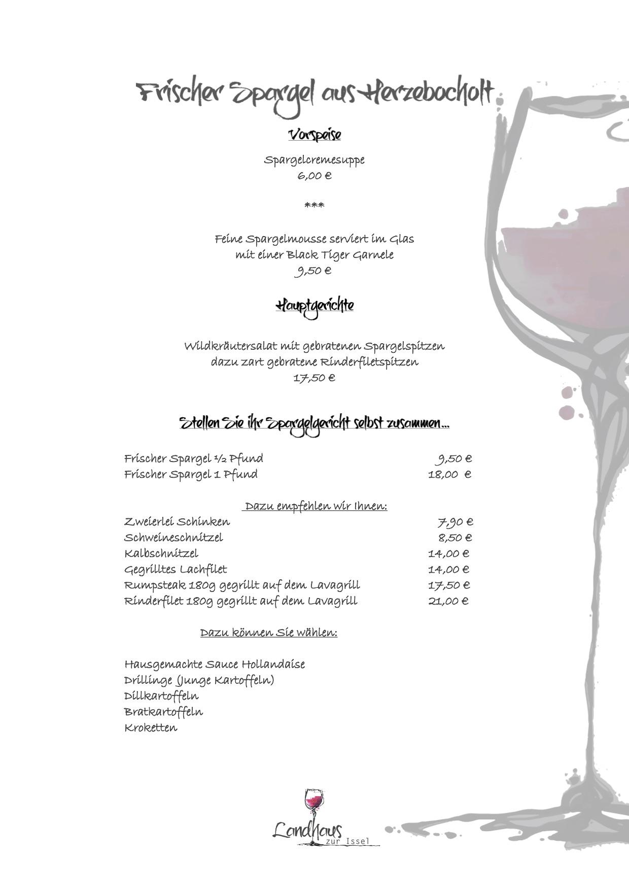 Spargel, restaurant, bocholt, isselburg, spargelkarte