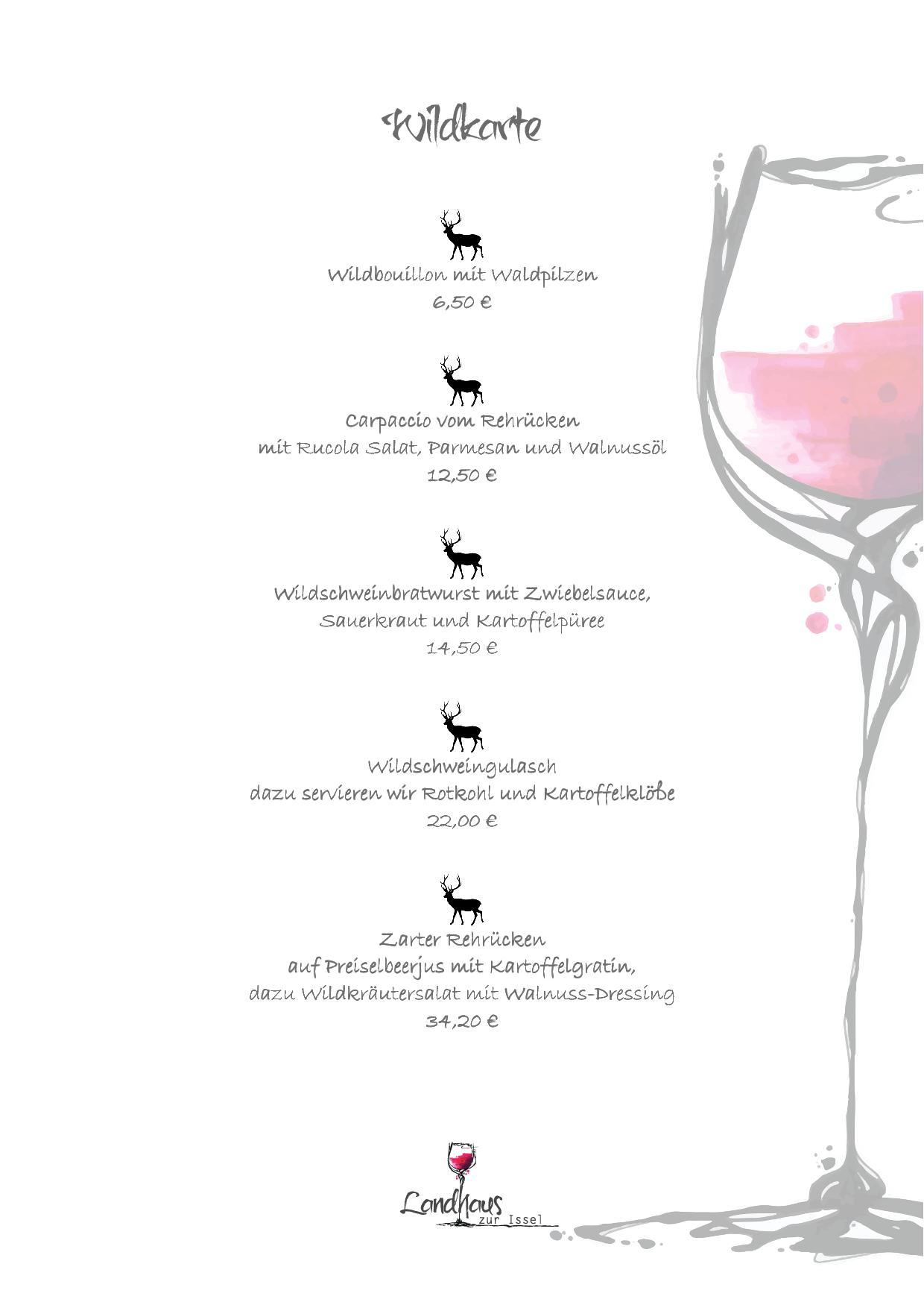 Wildfleisch, Wild essen, Wild Restaurant Bocholt, Isselburg, Landhaus zur Issel, Rehrücken, Wildschwein, essen gehen wild